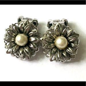 Vintage Silver Flower Pearl Clip On Earrings